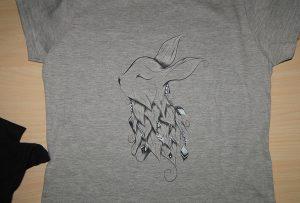 Сива маица печатење на примерок од А2 маичка принтер WER-D4880T